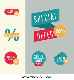 sale offer discount advertising marketing labels set