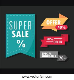 sale offer discount tag, ribbon and banner icons set