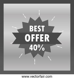 best sale offer discount percent message sticker design