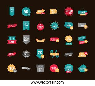 sale offer discount percent commerce business icons set design template