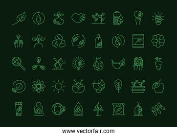 organic natural icons set ecology environment recycle food energy concept green line style