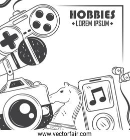 hobbies, game, music playing and photography sketch style