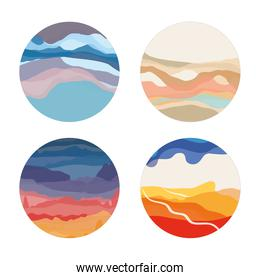 art design abstract waves color paint textures round icons set