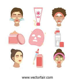 set women with facial mask, products cosmetics and skincare daily routine