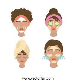collection of women applying facial masks, care of skin routine