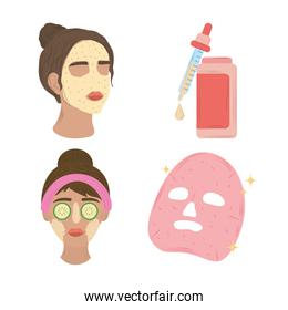 women applying serum on face, products cosmetic, skin care routine