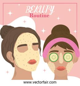 women take care face and applying cosmetic cream, beauty routine