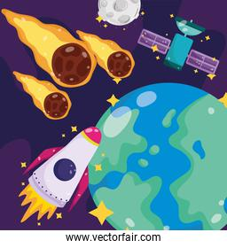 space earth spaceship satellite moon and falling asteroids cartoon