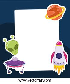 space alien ufo spaceship and planet cartoon card template