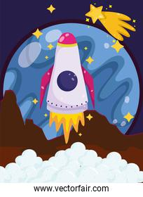 space rocket launch from planet surface shooting star cartoon