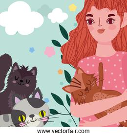 beauty girl carrying cat and kittens animals cartoon