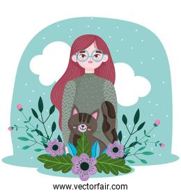 beauty girl with cat and flowers decoration cartoon, pet concept