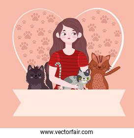 beauty woman cartoon cats heart with paws and banner