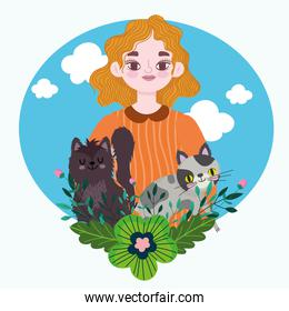 blonde woman with cute cats and flowers decoration cartoon