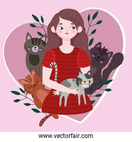 young woman with different cats in heart love pet cartoon