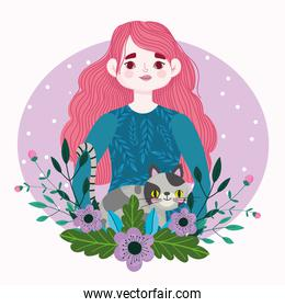 beauty woman with spotted cat pet animal and flowers cartoon