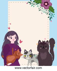 woman with pet cats flowers decoration cartoon, greeting card template