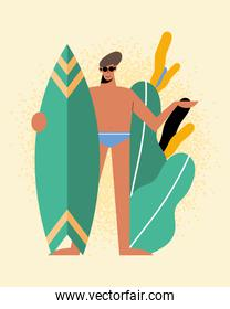 Summer man with swimwear surfboard and leaves vector design