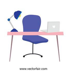office desk chair laptop and lamp cartoon flat isolated style