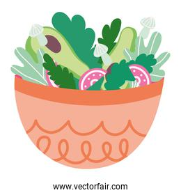 cooking food vegetables salad with bowl cartoon flat icon