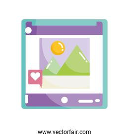 social media mobile photo image like icon flat design