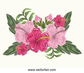 flowers hibiscus sprout leaves foliage painting design