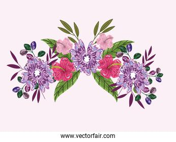 flowers hibiscus sprout leaf foliage bouquet, painting design