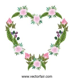 flowers bouquet floral frame shaped heart, painting design