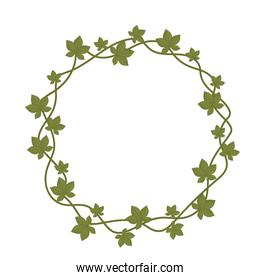 leaves foliage nature branch shaped round frame