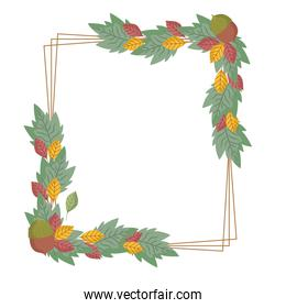 leaves foliage greenery botanical nature, decorative frame