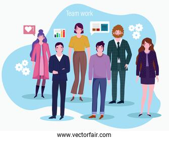 people working business men and women chart financial network