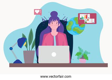 woman working with laptop making statistical analysis, people working