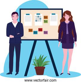 business man and woman with board presentation financial report, people working