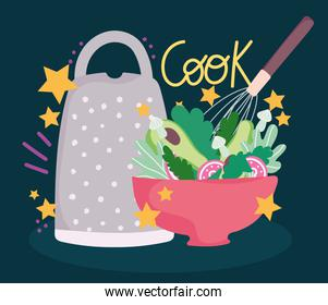cooking salad in bowl and grater utensil in cartoon style lettering