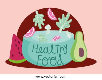 healthy food vegetables and fruits cooking in cartoon style lettering