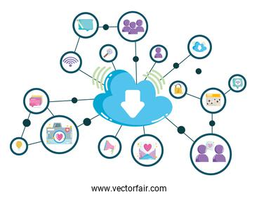 social media cloud computing technology digital network connections