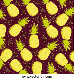 food pattern, tropical exotic fruit pineapples decoration