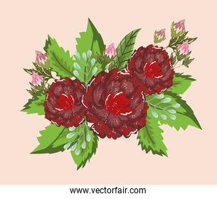 flowers sprout leaves nature decoration painting design