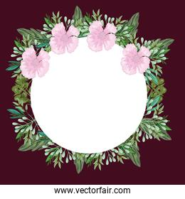 pink flowers and foliage nature decoration round border, painting design
