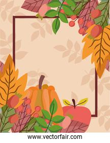 autumnal leaves foliage nature pumpkin apple branches frame
