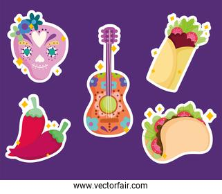mexico sugar skull guitar and food culture traditional icons sticker