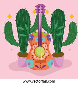 mexico guitar and cactus in pots culture traditional