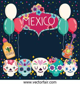 mexico day of the dead skulls tequila balloons culture traditional