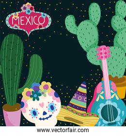 mexico day of the dead sugar skull guitar hat cactus decoration culture traditional