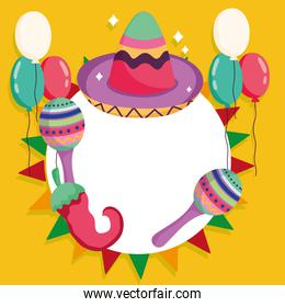 mexico hat maraca balloon and chili pepper culture traditional party