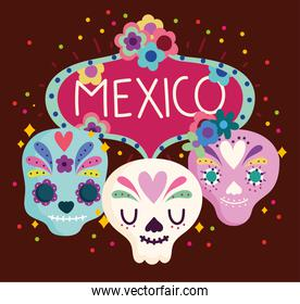 mexico day of the dead floral skull culture traditional banner