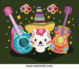 mexico day of the dead skull with guitar and flowers decoration culture traditional