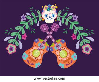 mexico day of the dead sugar skull guitar flowers festive culture traditional