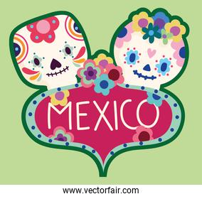 mexico day of the dead culture sugar skulls flowers label design