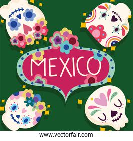 mexico day of the dead sugar skulls flowers floral decoration and celebration culture